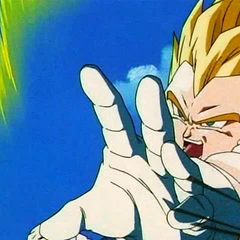 SS Vegeta about to charge an attack against Super Buu.
