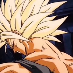 Super Saiyan Future Trunks after being attacked by Broly