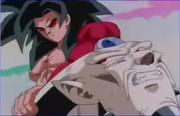 SS4 Goku holds Syn horns
