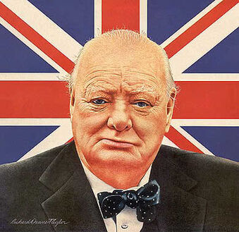 Winston Churchill British bulldog portrait
