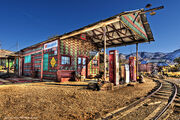 Old gas station in the living ghost town of Chloride, Arizona
