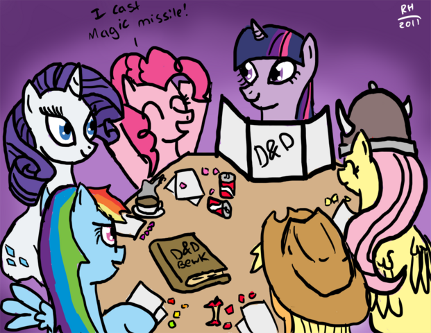 File:22426 - applejack artist-noisemaker111 book D&D dexterous hooves dungeons and dragons fluttershy hat pinkie pie rainbow dash rarity snacks twilight sparkle viking.png