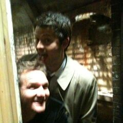 Roché with Misha Collins in Supernatural (BTS)