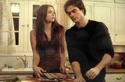 Damon & elena in elena's kitchen