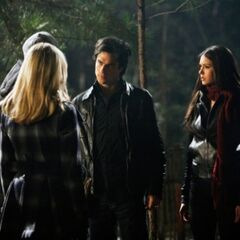 Elena, Damon, Caroline and Matt in the woods.