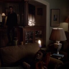 Stefan and Damon trying to convince Elena not to burn down the house