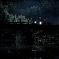 Matt's truck is going off Wickery Bridge
