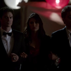 damon,elena and stefan at the prom-4X19