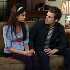 Elena and Stefan talking.