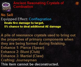 Ancient resonating crystals combustion