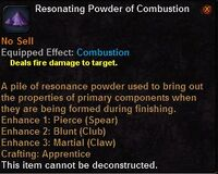 Resonating powder combustion