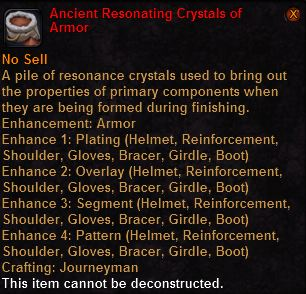 Ancient resonating crystals armor