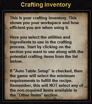 Hint crafting inventory