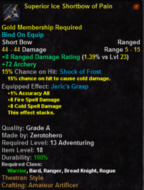 Superior Ice Shortbow of Pain