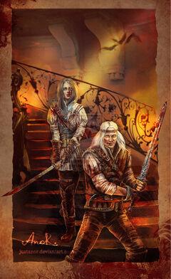 Геральт и Цири в замке Стигга (Автор - Таня Анор)