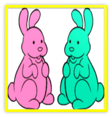2 Chocolate Bunnies Colorful Metal Frame