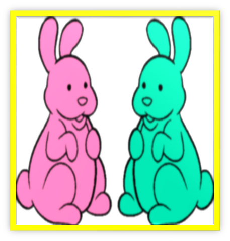 File:2 Chocolate Bunnies Colorful Metal Frame.png