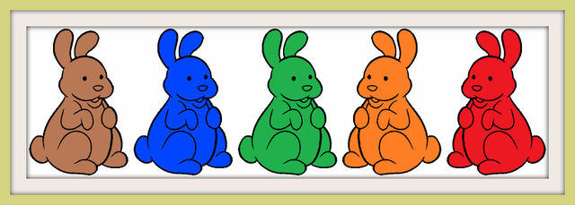 File:Five Chocolate Bunnies Colorful Frames.jpg