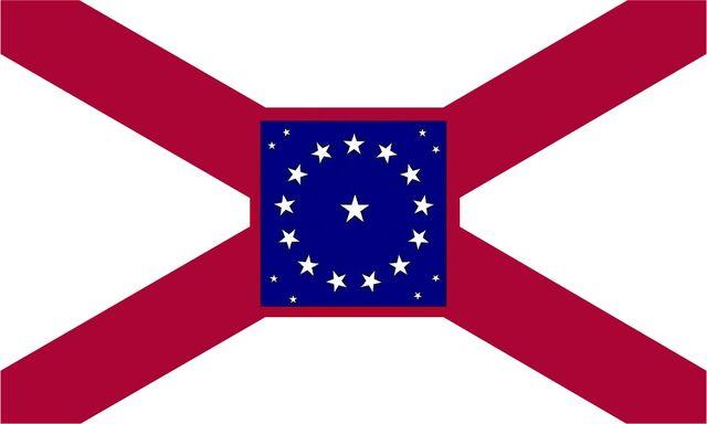 File:Alabama State Flag Proposal St Andrews Cross Concept with 22 Star Medallion Pattern Crimson Boarder Centered Designed By Stephen Richard Barlow 29 July 2014.jpg