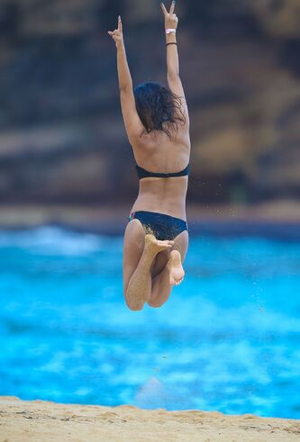 Victoria Justice Jumping Barefoot in Hawaii Vacation