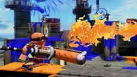 Splatoon Bulldozing Rivals in Multiplayer Splat Zones