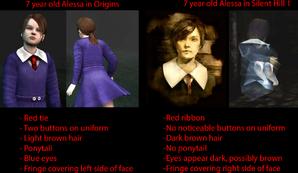 Alessa original and Origins Comparison Silent hILL