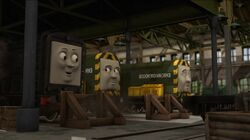 Diesel with his diesel friends, Arry and Bert during the takeover of the Steamworks