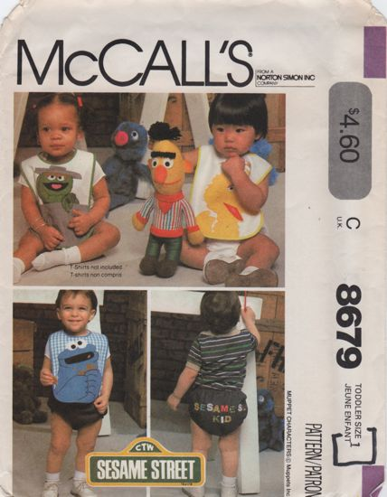 McCalls 8679 Sesame Street Bibs, Panty and Blue Transfers 1