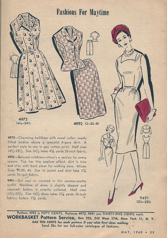 WB Dress Patterns May 1960