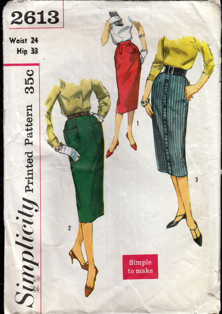 Vintage 1950s slim skirt pattern from Penelope Rose at Artfire