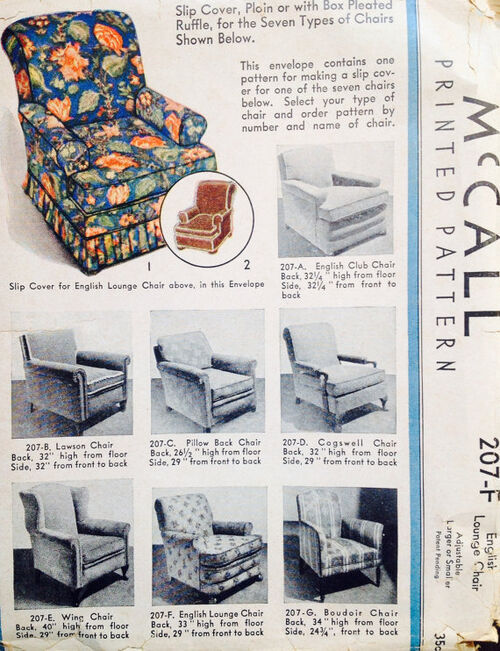 1934 McCall 207-F English Lounge Chair Cover