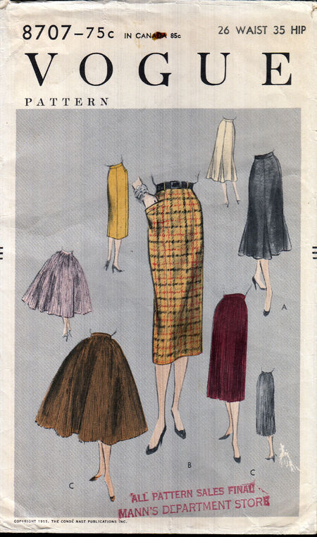 Vintage 1950s Vogue skirt pattern from Penelope Rose at Artfire