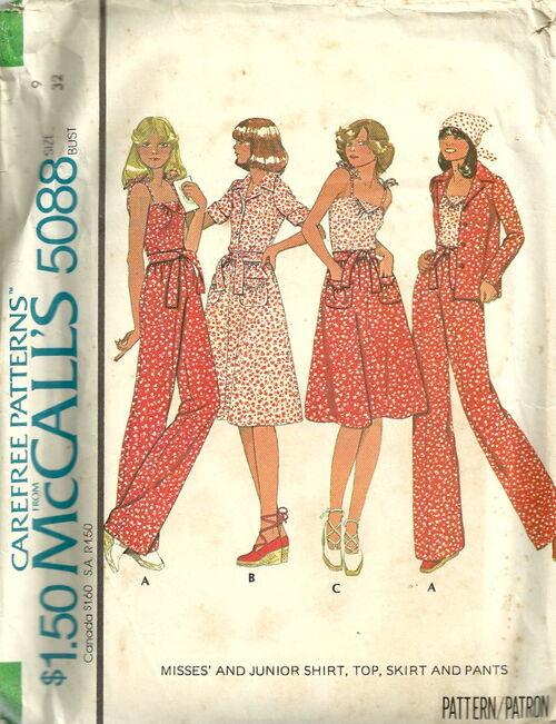 McCalls 5088 Shirt, Top, Skirt and Pants