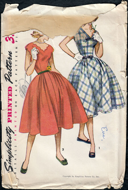 Vintage 1950s dress pattern from Penelope Rose at Artfire