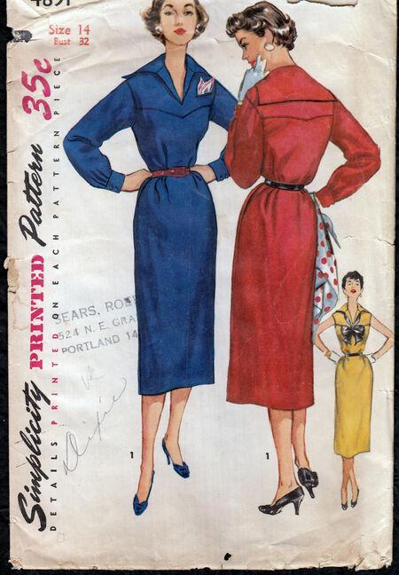 Vintage 1950s chemise dress pattern from Penelope Rose at Artfire