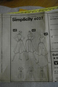 Simplicity 6027 year 1983 inside sleeve