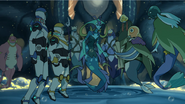 Lance and Hunk with Plaxum, Swirn, Blumfump and Queen Luxia.
