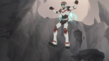 S2E01.101. At least in VLD they jump down cliffs via jetpack