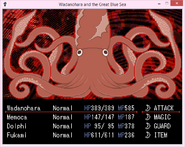Squid with all arms in battle