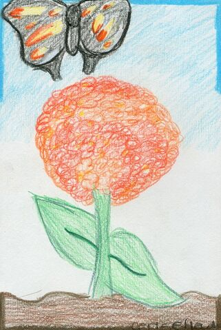 File:Cerise Hewling The butterfly flying near the flower.jpg