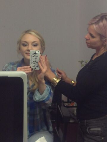 File:Emily Kinney selfie while being maked up so cute.JPG