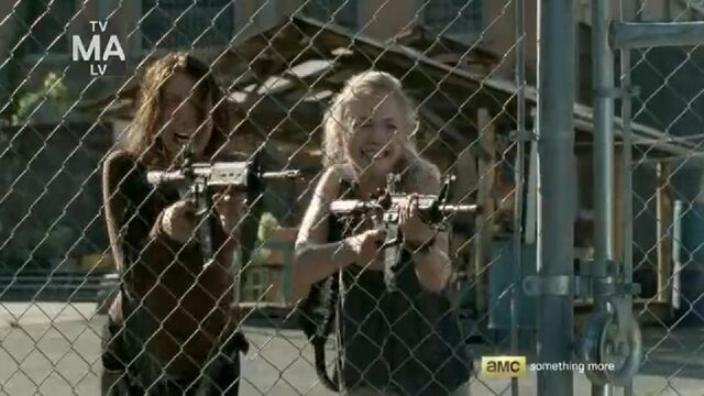 File:Maggie and Beth about to retreat from governor's forces.JPG