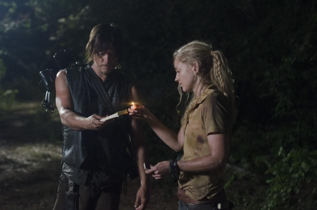File:Beth and Daryl firing up for the burn.jpg