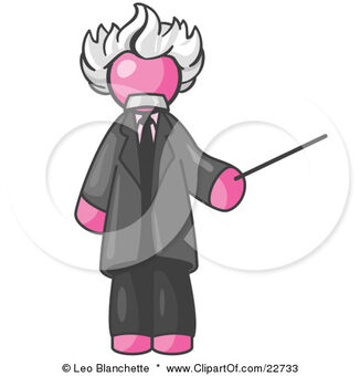 22733-Clipart-Illustration-Of-A-Pink-Man-Depicted-As-Albert-Einstein-Holding-A-Pointer-Stick