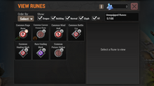 Runes menu