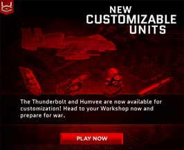 Thunderbolt & Humvee available for customization.
