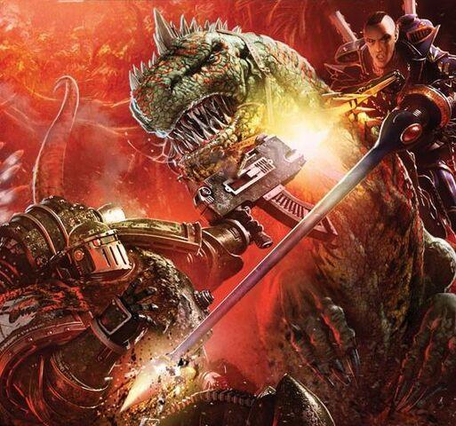 File:Salamanders vs. Exodite Dragon Warrior.jpg