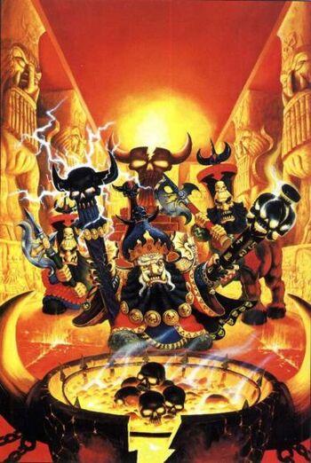 Chaos Dwarf Sorcerer and Bull Centaur sacrifice to Hashut Colour 4th Edition Illustration