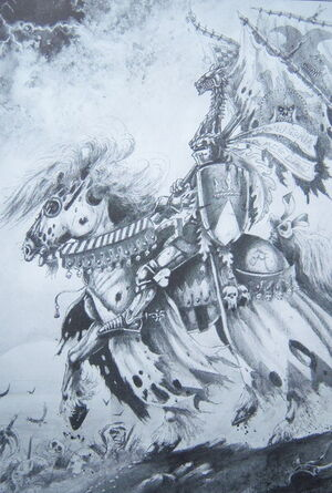 Bohemond Beastslayer Duke of Bastonne Bretonnia 5th Edition Black&White illustration