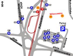 Schemat rozmieszczenia przystanków w zespole Metro Wilanowska